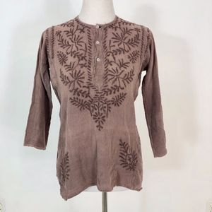 Vintage Indian Cotton Embroidered Top